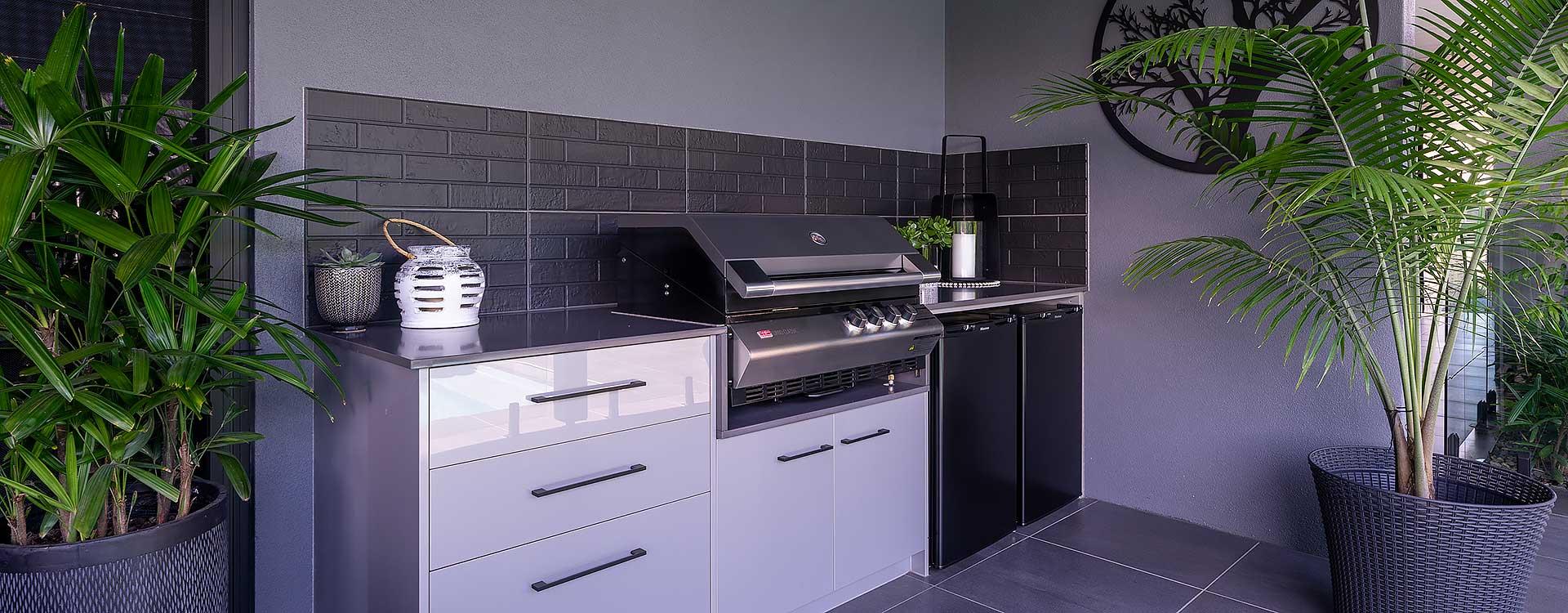 modern new home outdoor kitchen